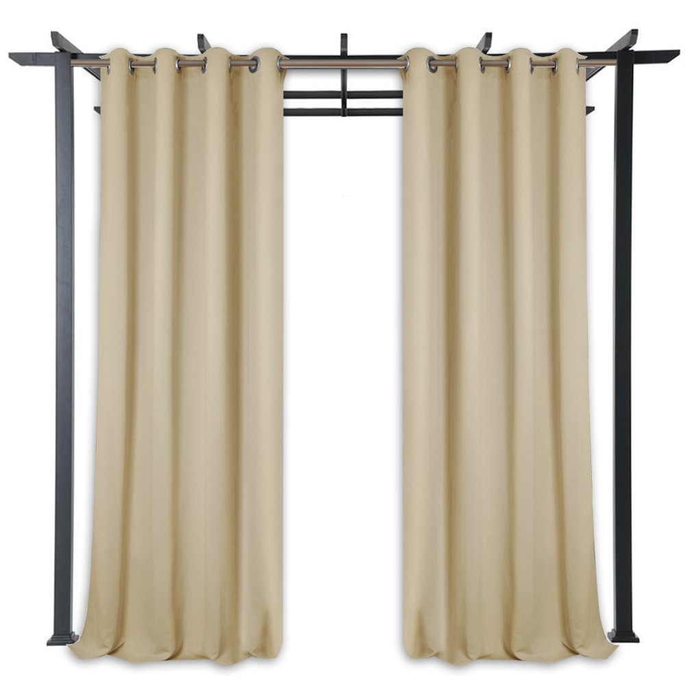 StangH Pergola Outdoor Privacy Curtains Panels - Blackout Outdoor Curtains Rust Grommet Top Mildew Resistant Water & Wind Repellent for Patio/Balcony / Front Porch, Beige, Wide 52 x Long 84, 1 Pc