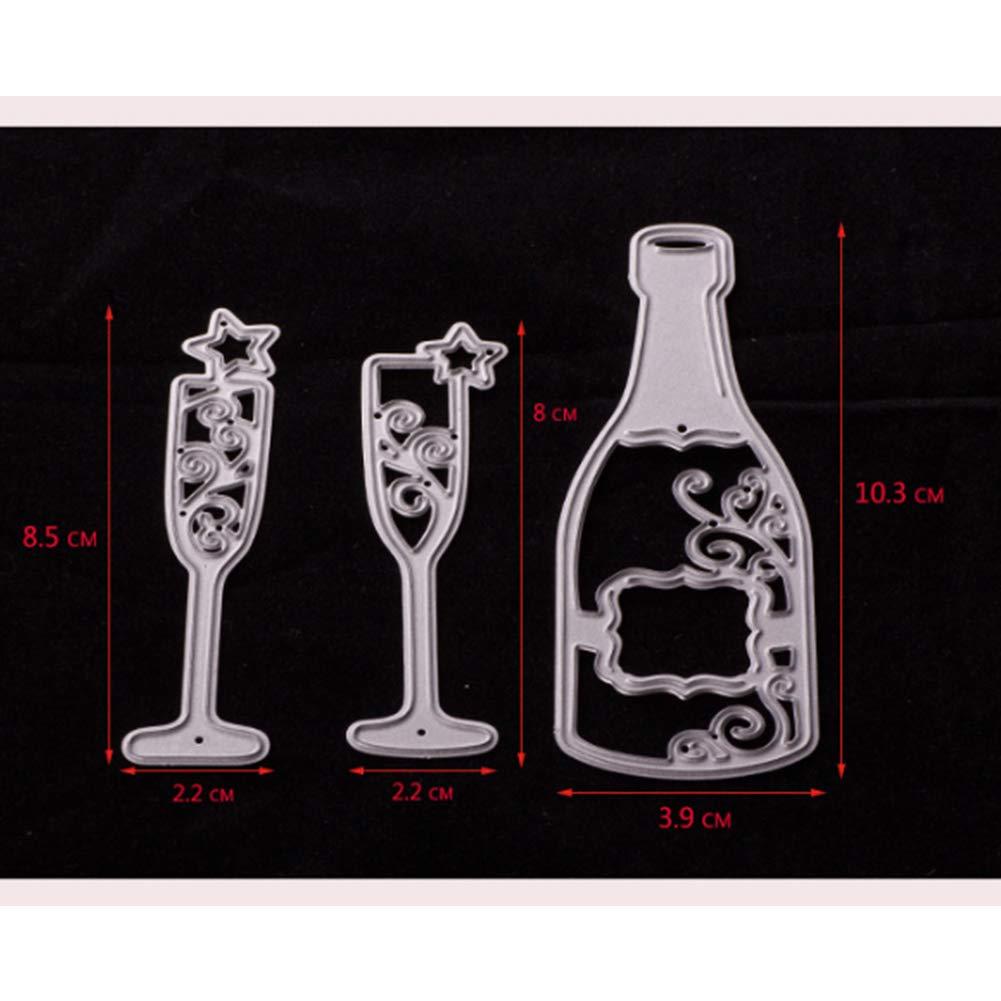 Vin gaufrage timbres en acier carbone en verre Scrapbooking faite à la main DIY Pochoir de bouteille de vin exquis Verre à vin Coupe Dies Ndier