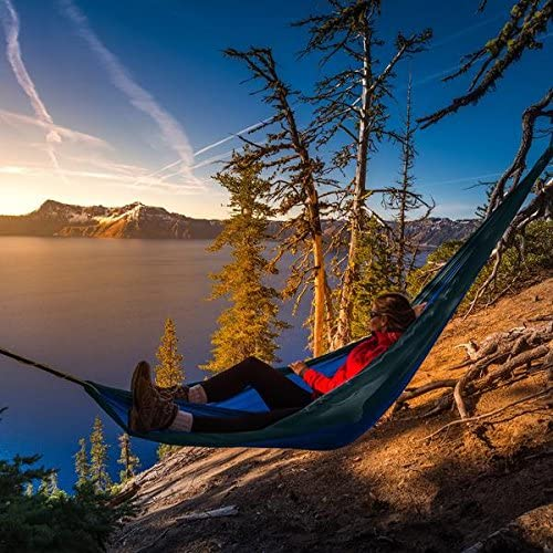 Skonzig Single Include Heavy-Duty Carabiners /& Tree Straps. Lightweight Deluxe Portable Parachute Nylon Double Camping Hammock