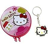 Hello Kitty - Trousse Pochette Zippée en Métal et Porte-Clés - Accessoire de Mode Neuf