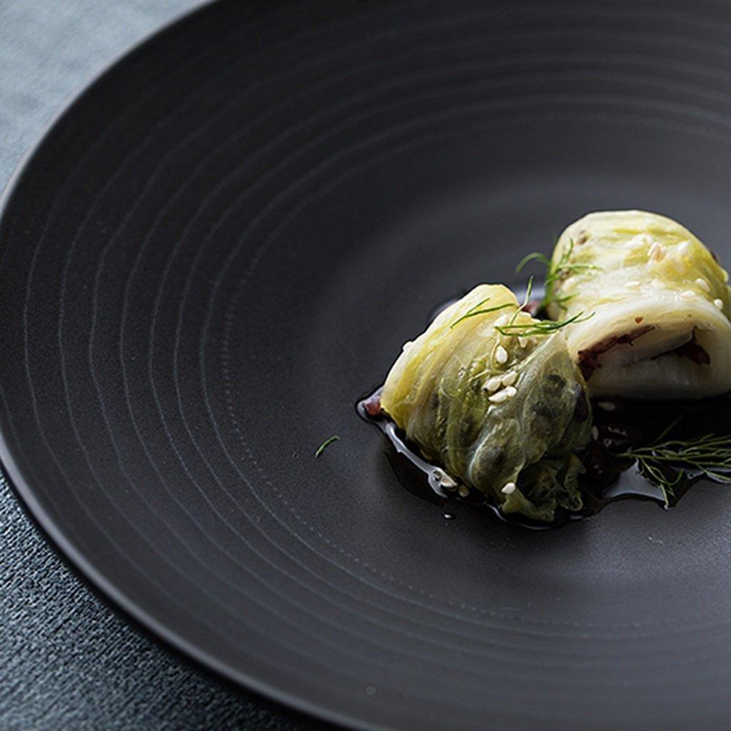 He Xiang Ya Shop Round plate cutlery black ceramic flat dish deep dish fruit salad plate steak plate home 21.3 cm (8 inches) by He Xiang Ya Shop (Image #5)