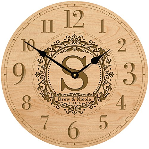 Personalized Decorative Modern Wall Clocks Housewarming Anniversary Gifts for Parents (Maple)