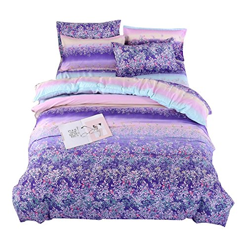 "Bedding Duvet Cover Sets 3-pieces Full/Queen Size(90""x90"") Microfiber, Stripes Purple Lavender Flowers Prints Floral Patterns Design,Without Comforter (Full/Queen, 1Duvet Cover+2Pillowcases-07)"