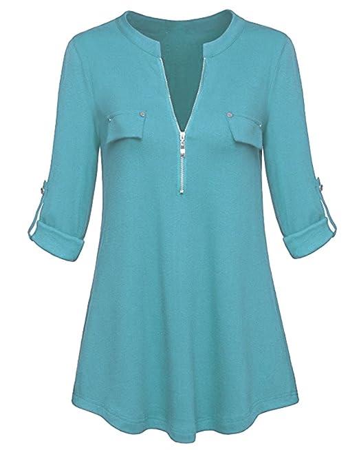 DianShao Blusas Camisetas De Gasa Ropa De Mujer Camisas Manga Ajustable Blusas Top Cielo Azul S
