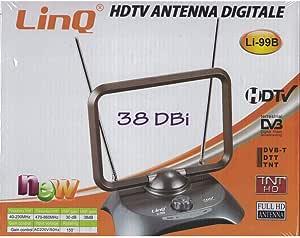 Antena DVB-T2, antena de televisión HDTV, DVB-T/DVB-T2, antena digital HDTV, 1080p, antena interior con amplificador de 50 dB, LinQ99B DVB-T2, antena ...