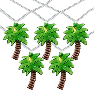 SkrLights 8.5Ft Palm Tree Patio String Lights with 10 Palm Tree Mini Incandescent Outdoor String Lights, Summer Beach Themed & Tropical Party Decor, UL Listed for Indoor & Outdoor Use- White Wire