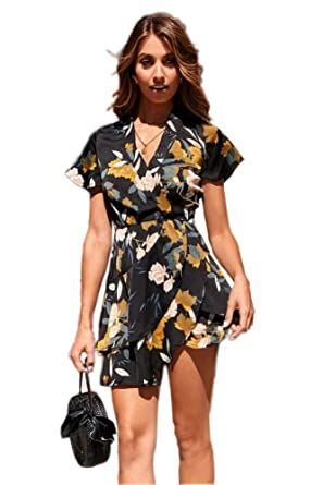 5765cd19fec4 Wrap Maxi Dress Short Sleeve V Neck Floral Flowy Front Slit High Low Women  Summer Beach Party Wedding Dress at Amazon Women's Clothing store: