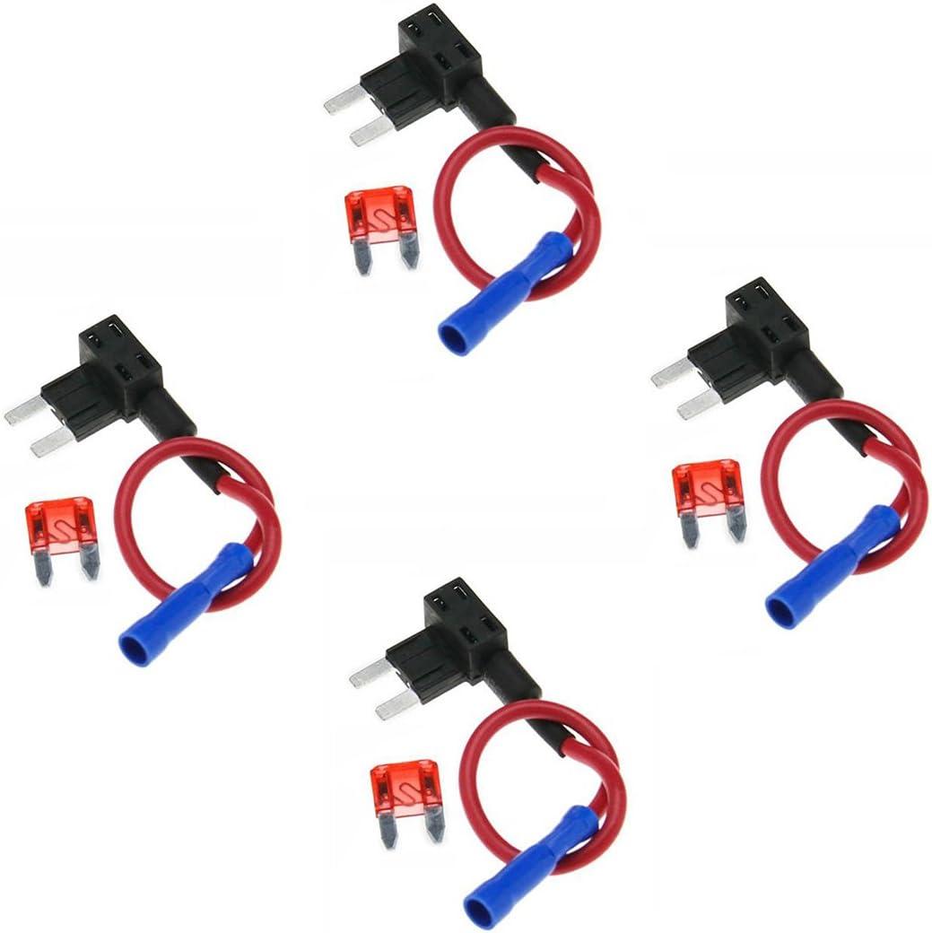 Quacc 4 x Circuit Fuse Tap Universal Piggy Back Mini Blade Ato Atc Fuse Holder Box 12V 24V with 15A Circuit Mini Blade