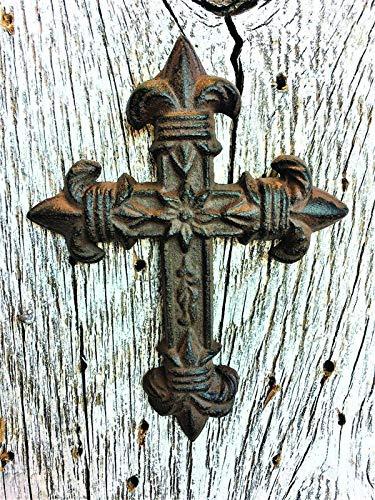 (2-Pack Fleur De Lis Crosses Cast Iron Decor | Home Decor | Wall Cross | 3.13-Inches by 4.13-Inches CI126)