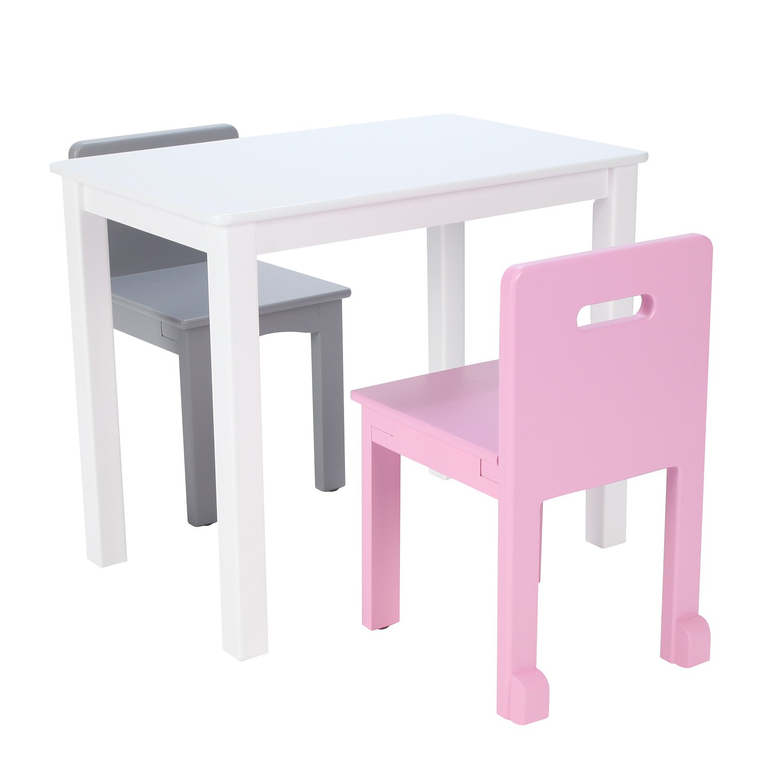 Max & Lily White Wood Kid and Toddler Rectangular Table +  Chairs (Pink, Grey)
