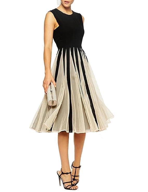 CRAVOG Sommerkleider Damen knielang Abendkleider Cocktailkleid ...