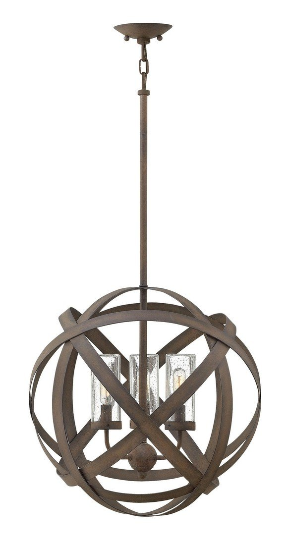 Hinkley 29703VI Contemporary Modern Three Light Outdoor Chandelier from Carson collection in Bronze/Darkfinish, by Hinkley