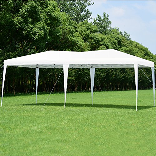 Tangkula 10'X20' EZ POP UP Tent Wedding Party Canopy Shelter with Carry Bag (White)