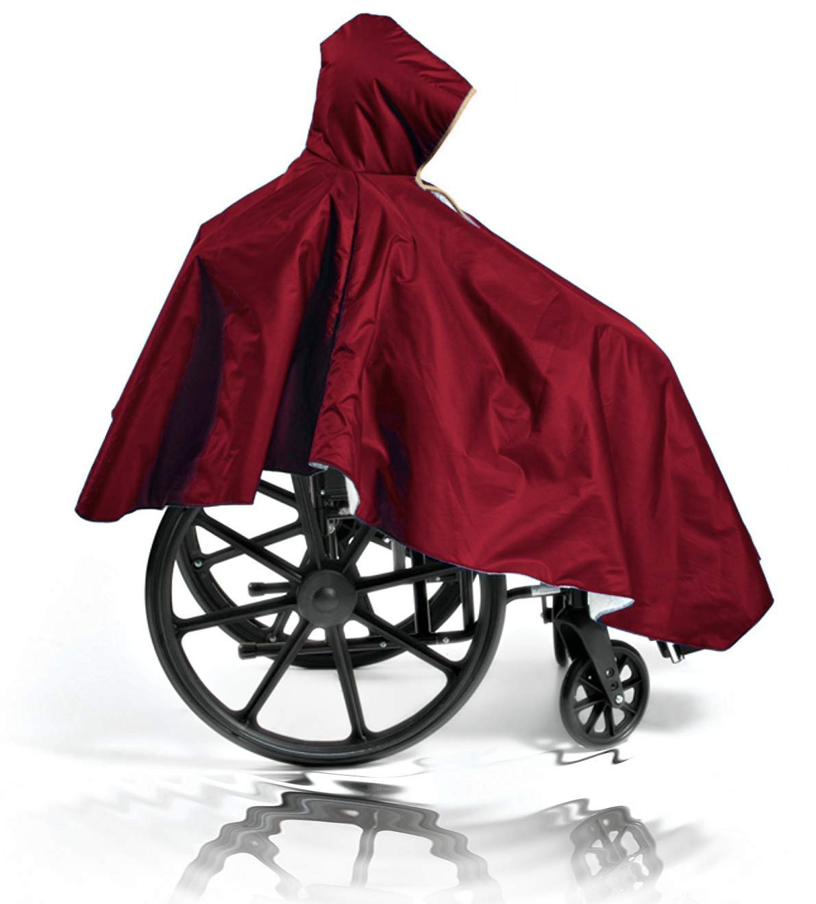 Wheelchair Winter Poncho – Warm Sherpa Lining - Adult Elderly Seniors Cape – Heavy Duty Reusable – Full Waterproof Coverage (Single Pack, Burgundy)