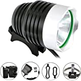 Comunite 1200 Lumens Super Bright CREE XML T6 LED Rechargeable Waterproof Mountain Bike Headlight Bicycle Headlamp Flashlight with 5200mah Battery Pack,Great for Camping,Hiking,Mountain Bicycles