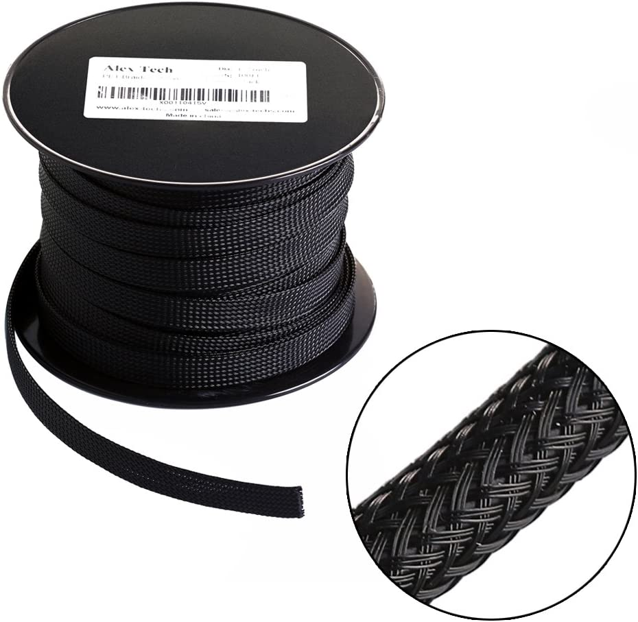 25ft - 1.5 inch PET Expandable Braided Sleeving – Black – Alex Tech braided cable sleeve