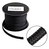 100ft - 3/8 inch Flexo PET Expandable Braided Sleeving – Black – Alex Tech Braided Cable Sleeve