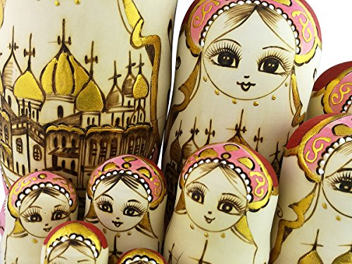 Set of 15 Wooden Girl Castle The Kremlin Traditional Russian Nesting Dolls Matryoshka Stacking Dolls Fun Toys for Kids Christmas Birthday Present Gift by Winterworm (Image #6)