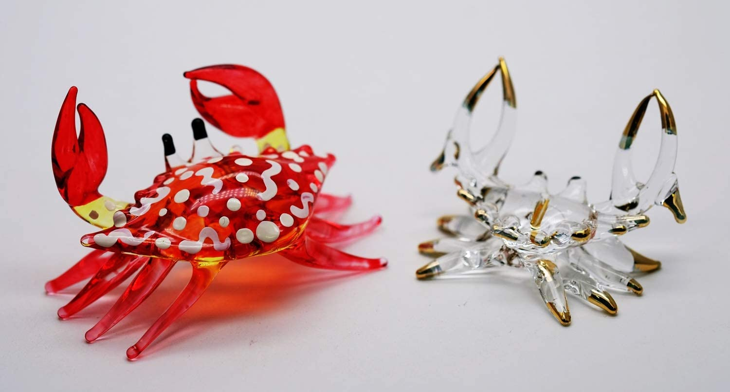 ChangThai Design 2 Pcs Aquarium Red Vs Golden Crab HandBowl Glass Dollhouse Miniatures Decoration Figurine Collection