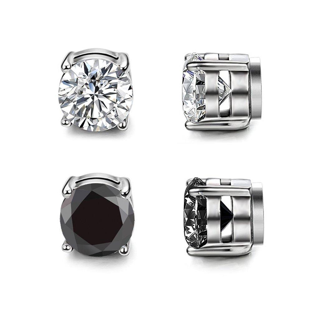 Shoopic Clear Cubic Zirconia Earrings Stainless Steel Magnetic Stud Earrings 3-12 Pairs ERP-436-5