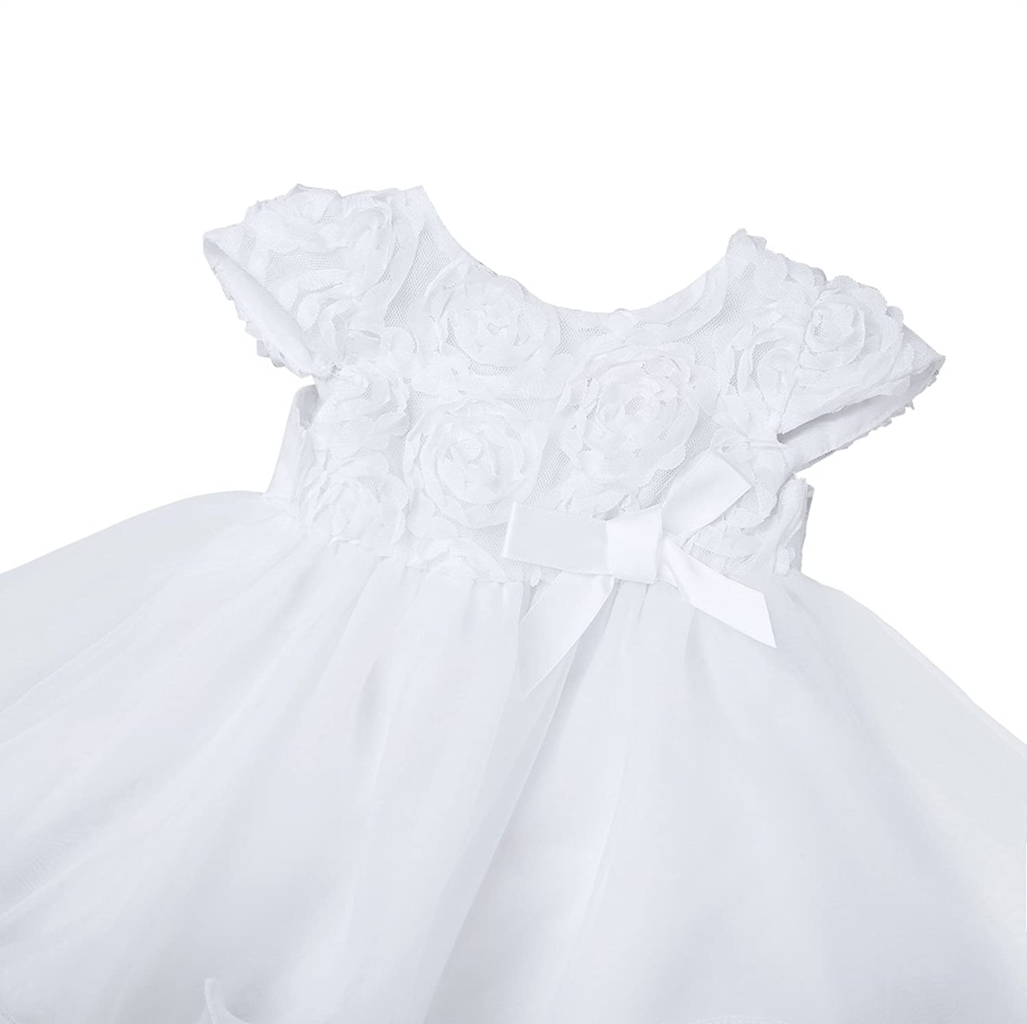 Amazon.com: iixpin Toddler Baby Girls Christening Baptism 3D Flower Dress Gown Wedding Party Formal Dresses Kids Princess White: Clothing