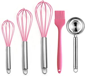 LXUNYI Silicone Whisk HeatResistant Balloon Small Wire Wisks Set 8