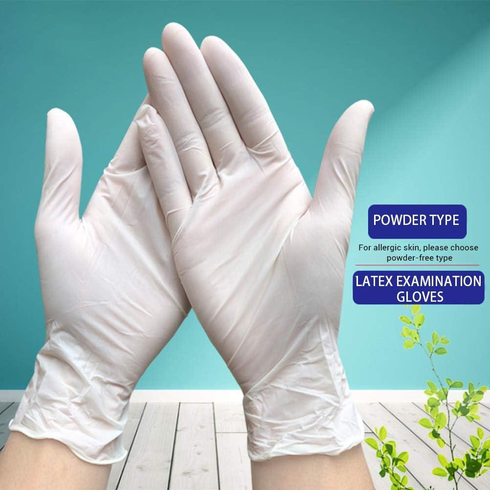 L Lot de 100 gants jetables en latex blancs antid/érapants sans /électricit/é de laboratoire en caoutchouc latex pour m/énage Blanc