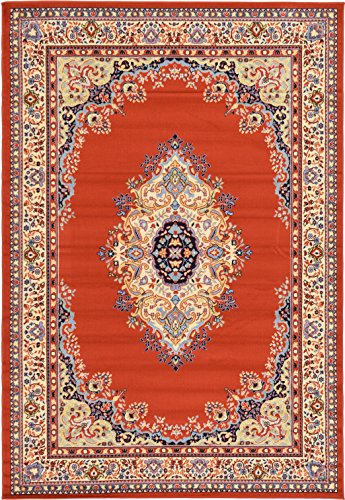 - A2Z Rug Traditional Terracotta 6' x 9' Mashad Collection Area rug Perfect for any floor & Carpet