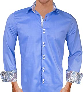 product image for Blue with White and Brown Paisley Designer Dress Shirts - Made in USA