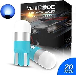 VehiCode 194 168 2825 W5W LED Bulb Blue 158 161 192 2827 Mini Short 12V T10 Wedge Lamp for Car Dash Instrument Panel PC194 PC161 Gauge Cluster Dome Map Door Courtesy License Plate Light (20 Pack)