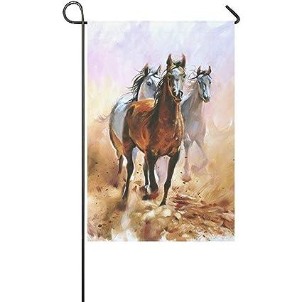 Ordinaire Starowas Oil Painting Running Horse Garden Flag Banner 12 X 18 Inch, Horse  Equestrian Passion