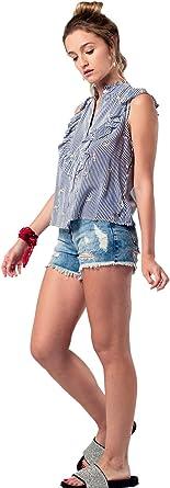 Q2 Blusa de Rayas En Azul Marino Y Detalle de Volantes Mujer ...
