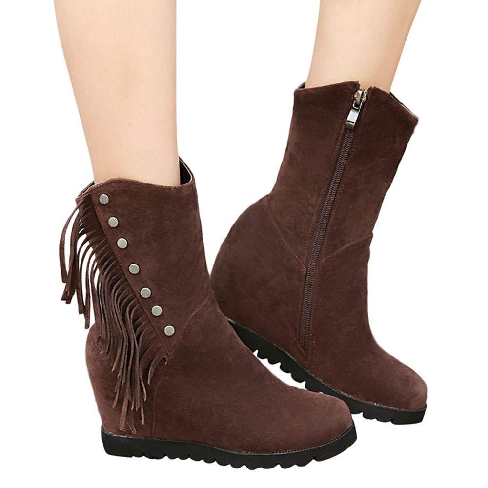 Stiefel Damen Martain Boots Frauen Runde Toe Wedges Quaste