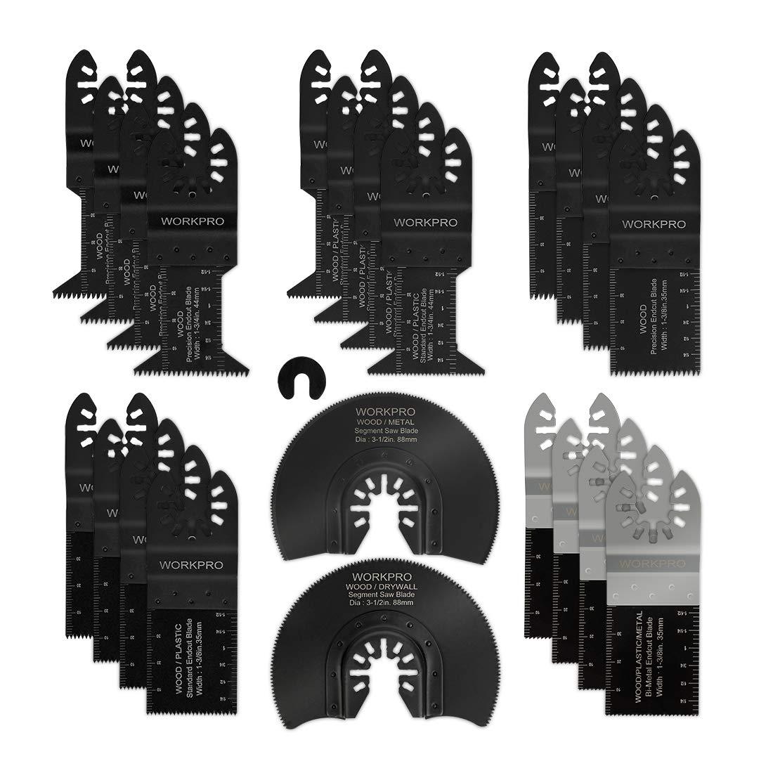 WORKPRO Oscillating Saw Blades Kit, 23-piece Multitool Quick Release Saw Blades Fit Porter Cable Black & Decker Rockwell Ridgid Ryobi Milwaukee DeWalt Chicago Craftsman