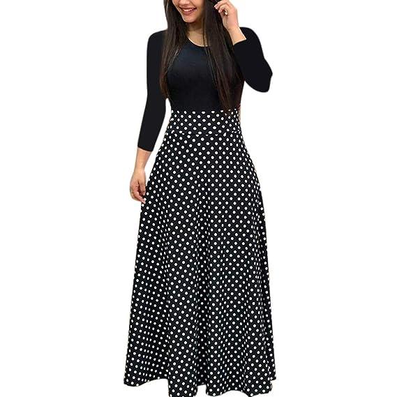 4af562aebf9 EeSxin Womens Plus Size Bohemian Long Sleeve Maxi Flowy Dress Color Block  Polka Dot Floral Patchwork Bodycon Empire Waist Vintage Skirt S-2XL   Amazon.in  ...