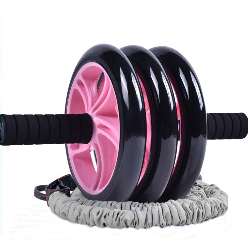 Bauchmuskelübungsrolle mit Kniepolster 3 Rad mit Schaum Baumwolle Griffe Workout Fitness Exerciser Gym Tool Halte Rad Platte Bremse Seil Gesundheit Abdomen Blanket