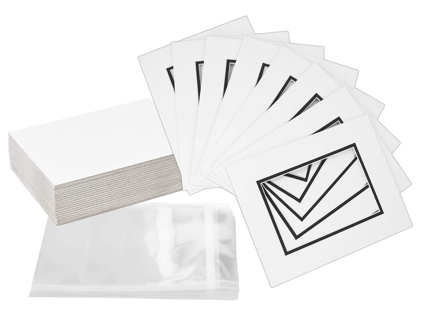 Pack of 32 8x10 WHITE/BLACK Double Mats Mattes for 5x7 photo with White Core Bevel Cut + Backing + Bags by Golden State Art