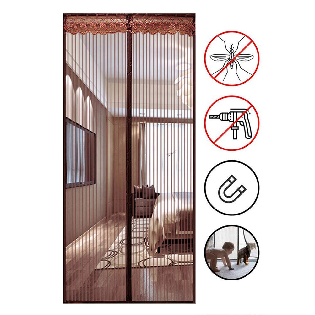 180x220cm KSWD Striped Magnetic Fly Insect Screen Door Screen Mesh Curtain with Powerful Magnets and Full Frame Magic Tape Summer Keeps Mosquitoes Insects Bugs Out Brown,180x220cm