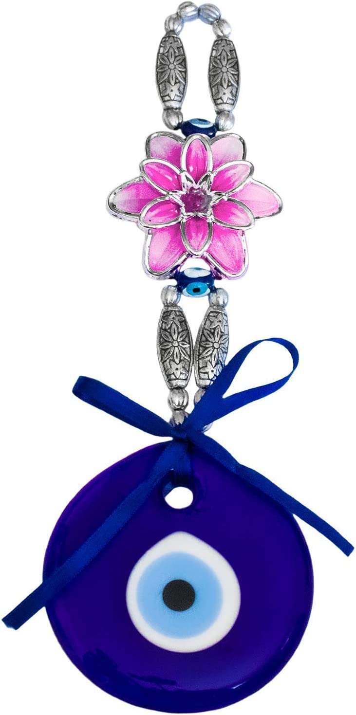 Ekayist Turkish Blue Evil Eye Wall Hanging Ornament with Pink Lotus Flower Design - Home Decor Protection - Nazar Boncuk Amulet and Home Blessing Charm - Wall Art Talisman and Good Luck