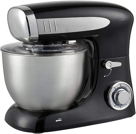 Robot de cocina multifunción (1300 W, 6,5 L, 6 velocidades, color rojo, negro y plateado a elegir), amasadora con cuenco de acero inoxidable Negro: Amazon.es: Hogar