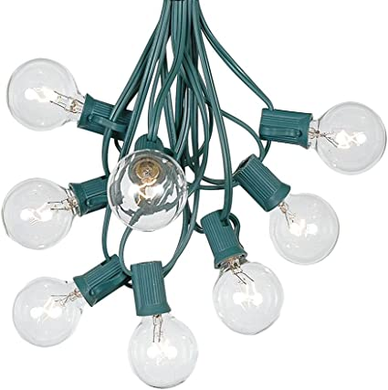 25 Foot G40 Heavy Duty Outdoor Patio Globe String Lights 25 Clear Bulbs