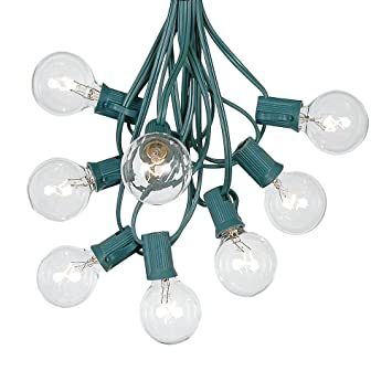 G40 Patio String Lights With 125 Clear Globe Bulbs   Hanging Garden String  Lights   Vintage