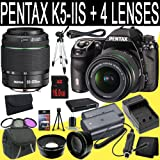 Pentax K-5 IIs Digital SLR Camera + SMC DA 18-55mm f/3.5-5.6 AL Weather Resistant Lens + SMC Pentax DA 50-200mm f/4-5.6 ED Zoom Lens + Two D-LI90 Replacement Lithium Ion Battery + External Rapid Charger + 16GB SDHC Class 10 Memory Card + 52mm Wide Angle Lens + 52mm 2x Telephoto Lens + 52mm 3 Piece Filter Kit + Mini HDMI Cable + Carrying Case + Full Size Tripod + Multi Card USB Reader + Memor