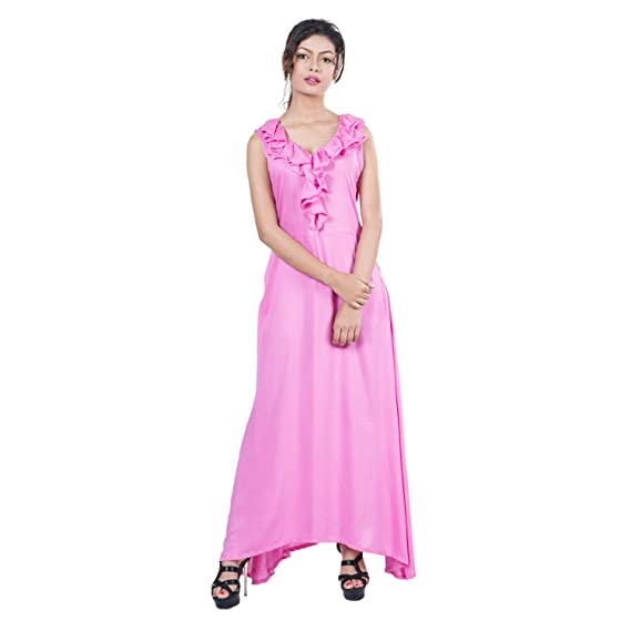 Mamosa Pink Rayon Long Sleeveless Maxi dress for Women for party ...