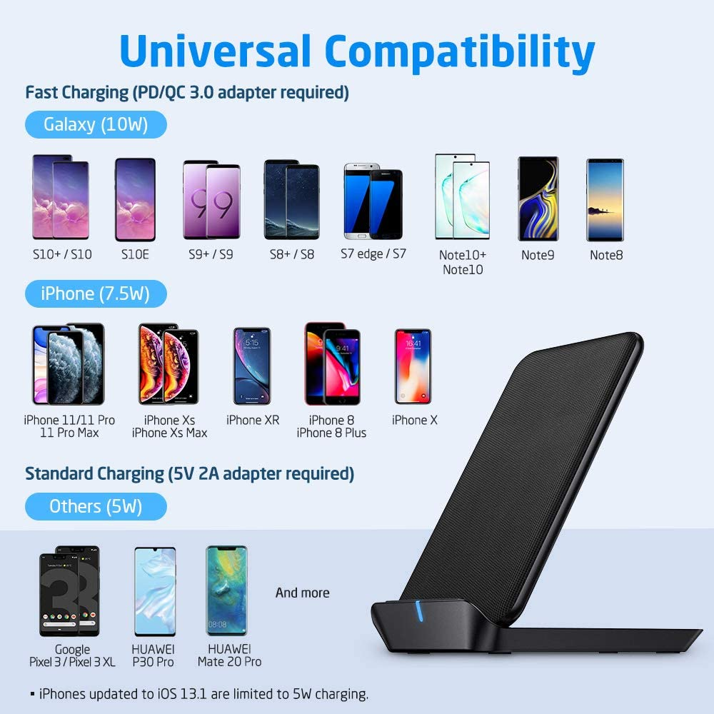 ESR Wireless Charger Foldable No Adapter 7.5W Fast Wireless Charging Stand Compatible with iPhone 11//11Pro//11Pro Max//Xs Max//XS//XR//X//8//8+,10W for Galaxy S10//S10+//S9//S8//Note 10