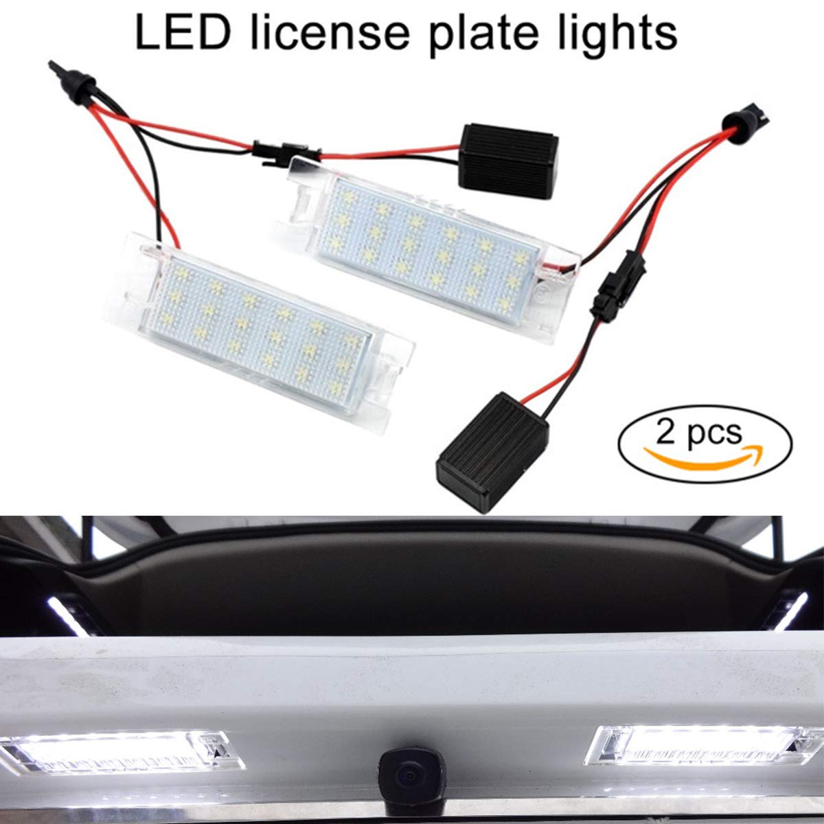 GOFORJUMP 2piece LED License Plate Light Lamp for O/pel Aauxhall Adam Insignia Corsa C D Zafira B Astra H Tigra B Vectra C Meriva A B