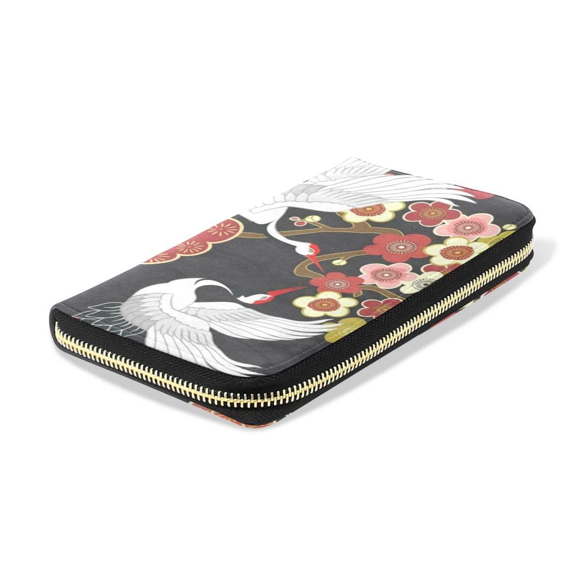 Womens Wallets Flying Bird Cherry Blossom Leather Passport Wallet Coin Purse Girls Handbags