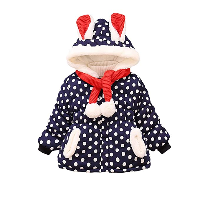 6fac601061a24 LQZ Baby Girls Winter Jacket Polka Dot Hoodie Warm Coat Clothes (6-12 Months