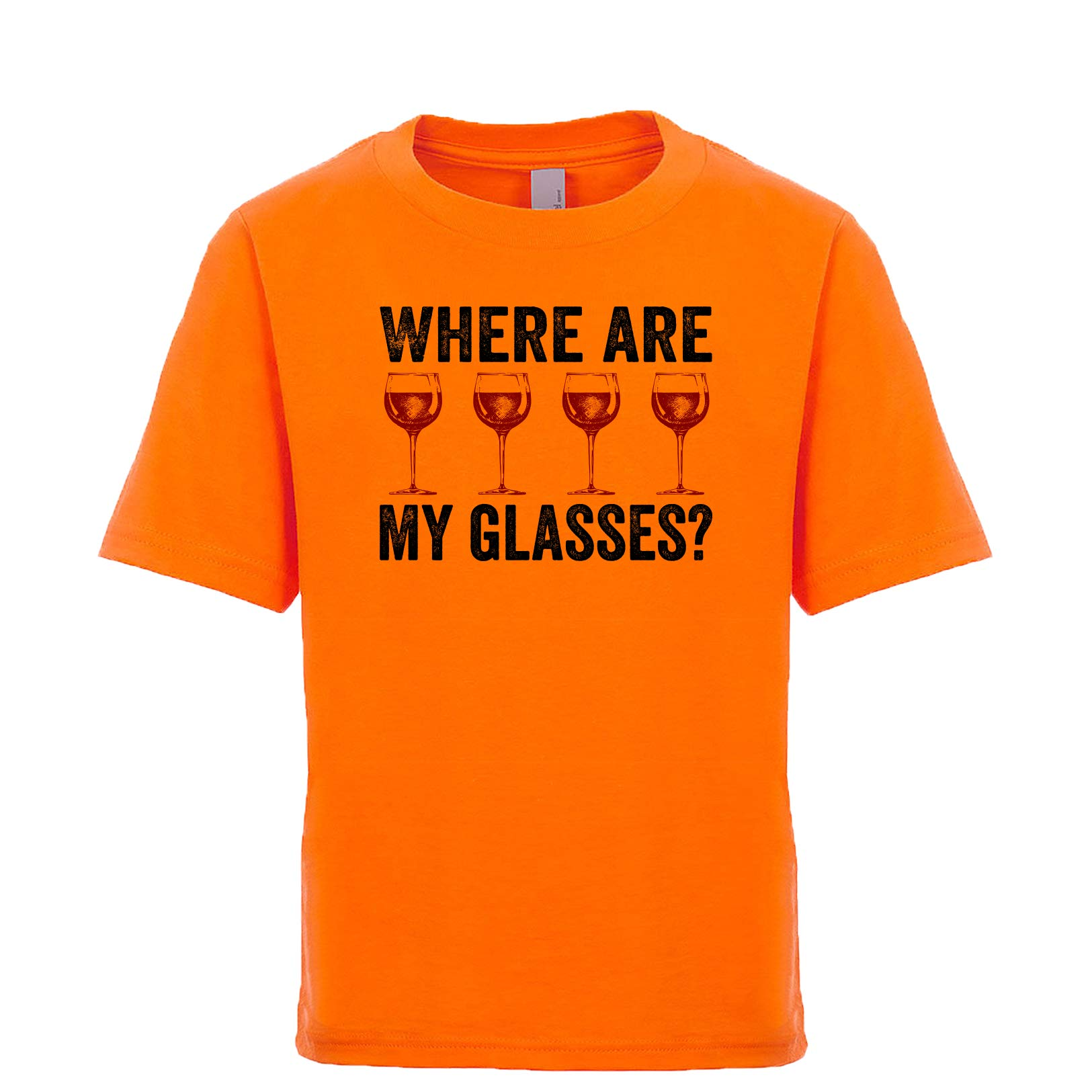 Shirtgoals Where are My Glasses? Unisex Kids Tee Orange Large