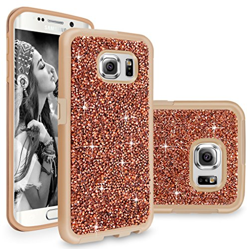 Galaxy S6 Edge Plus case, Cellularvilla Luxury Bling Jewel Rock Crystal Rhinestone Diamond Case [Shockproof] Dual Layer Protective Cover for Samsung Galaxy S6 Edge Plus / S6 Edge+ (Rose Gold)